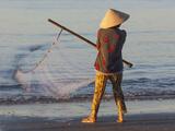 Vietnam, Mui Ne, Mui Ne Beach, Net Fisherwoman Photographic Print by Steve Vidler