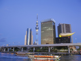 Japan, Honshu, Kanto, Tokyo, Asakusa, Office Buildings and Skytree Tower and Sumidagawa River Photographic Print by Steve Vidler