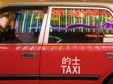China, Hong Kong, Wan Chai, Nightlife Neon Reflected in a Hong Kong Taxi Window Fotografisk tryk af Gavin Hellier