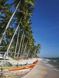 Vietnam, Mui Ne, Mui Ne Beach, Fishing Boat and Palm Trees Photographic Print by Steve Vidler