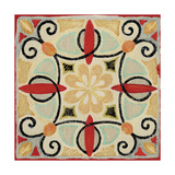 Bohemian Rooster Tile Square II Giclee Print by Daphne Brissonnet
