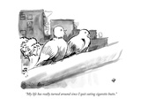 """My life has really turned around since I quit eating cigarette butts."" - New Yorker Cartoon Premium Giclee Print by John Leavitt"