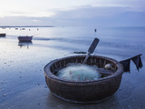 Vietnam, Mui Ne, Mui Ne Beach, Coracle Fishing Boat Photographic Print by Steve Vidler