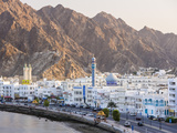 Middle East, Oman, Muscat, Mutrah, Elevated View Along Corniche, Latticed Houses and Mutrah Mosque Photographic Print by Gavin Hellier