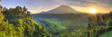 Indonesia, Bali, Redang, View of Rice Terraces and Gunung Agung Volcano Fotografiskt tryck av Michele Falzone