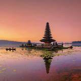 Indonesia, Bali, Bedugul, Pura Ulun Danau Bratan Temple on Lake Bratan Photographic Print by Michele Falzone