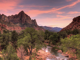 USA, Utah, Zion National Park, Watchman Mountain and Virgin River Photographic Print by Michele Falzone