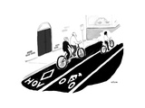 Tandem bike in HOV lane - Cartoon Regular Giclee Print by Emily Flake