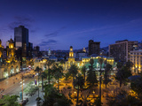 Chile, Santiago, Plaza De Armas and Metropolitan Cathedral, Elevated View, Dusk Photographic Print by Walter Bibikow