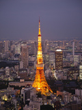 Japan, Tokyo, Roppongi, View of Tokyo Tower and City Skyline from Tokyo City View Tower Photographic Print by Steve Vidler