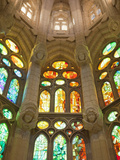 Spain, Barcelona, Sagrada Familia, Stained Glass Windows Photographic Print by Steve Vidler