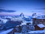 Gornergrat Kulm Hotel and Matterhorn, Zermatt, Valais, Switzerland Photographic Print by Jon Arnold