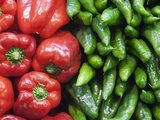 Spain, Barcelona, the Ramblas, la Boqueria Market, Vegetable Shop Display of Peppers Photographic Print by Steve Vidler