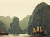 Vietnam, Halong Bay and Tourist Junk Boat Photographic Print by Steve Vidler