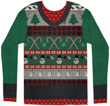 Long Sleeve: Ugly Xmas Sweater Costume Tee Skjorter