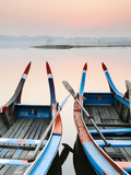 Traditional Burmese Boats at Sunrise on Taungthaman Lake, Amarapura, Mandalay, Burma (Myanmar) Photographic Print by Nadia Isakova