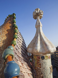 Spain, Barcelona, Casa Batllo, Roof Architecture Photographic Print by Steve Vidler
