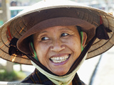 Vietnam, Hoi An, Portrait of Lady Wearing Conical Hat Photographic Print by Steve Vidler