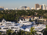 USA, Florida, Fort Lauderdale, City View from Intercoastal Waterway With Yachts Photographic Print by Walter Bibikow