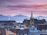 St Francois Church and City Skyline at Sunset, Lausanne, Vaud, Switzerland Lámina fotográfica por Ian Trower