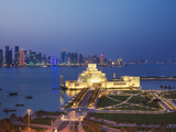 Qatar, Doha, Traffic at Roundabout Infont of the Museum of Islamic Art at Night Photographic Print by Jane Sweeney