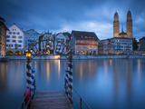 River Limmat and Grossmunster Church, Zurich, Switzerland Photographic Print by Jon Arnold