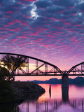 USA, Arkansas, Little Rock, Clinton Presidential Park Bridge and Arkansas River Photographic Print by Walter Bibikow
