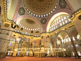Interior of Suleymaniye Mosque, Istanbul, Turkey Photographic Print by Neil Farrin