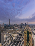 Sheikh Zayad Road and Burj Khalifa, Downtown, Dubai, United Arab Emirates Photographic Print by Jon Arnold