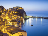 Town View at Dusk, With Castello Ruffo, Scilla, Calabria, Italy Photographic Print by Peter Adams