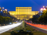 Unirii Street Looking Towards the Palace of Parliament or House of the People, Bucharest, Romania Photographic Print by Gavin Hellier