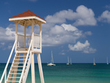 Caribbean, St Lucia, Gros Islet, Rodney Bay, Reduit Beach, Life Guard Lookout Photographic Print by Alan Copson