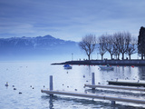 Piers on Shore of Lake Leman, Ouchy, Lausanne, Vaud, Switzerland Photographic Print by Ian Trower