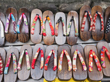Japan, Kyoto, Higashiyama, Shop Display of Traditional Japanese Sandals or Geta Photographic Print by Steve Vidler