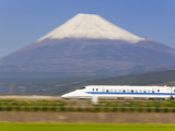 Japan, Houshu, Shinkansen (Bullet Train) Passing Mount Fuji Photographic Print by Gavin Hellier