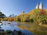 Central Park and Buildings Viewed Across Lake in Autumn, Manhattan, New York City Photographic Print by Gavin Hellier