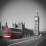 Bus and Big Ben, Houses of Parliament, London, England, UK Photographic Print by Jon Arnold