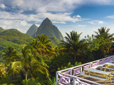 Caribbean, St Lucia, Petit and Gros Piton Mountains Photographic Print by Alan Copson
