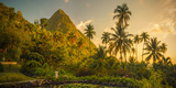 St Lucia, Soufriere, Sugar Beach Resort, Formerly Jalousie Plantation Resort and Gros Piton Photographic Print by Alan Copson