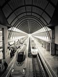 Spain, Andalucia, Seville Province, Santa Justa Train Station, Alta Velocidad Espanola Trains Lámina fotográfica por Alan Copson