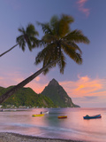 Caribbean, St Lucia, Soufriere Bay, Soufriere Beach and Petit Piton, Traditional Fishing Boats Photographic Print by Alan Copson