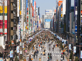 Asia, Japan, Honshu, Tokyo, Ginza, View Along Chuo-dori, a Fashionable Shopping Street in Tokyo Photographic Print by Gavin Hellier