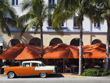 USA, Florida, Miami Beach, South Beach Hotels on Ocean Drive, 1955 Chevrolet Car Photographic Print by Walter Bibikow
