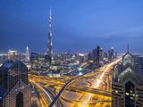 Sheikh Zayad Road and Burj Khalifa, Downtown, Dubai, United Arab Emirates Photographic Print by Jon Arnold