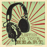 Listen to Your Heart Letterpress Print by  Roll & Tumble Press