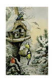 Winter Bird Table with Blue Tits, Great Tits, House Sparrows and a Robin Giclee Print by Carl Donner