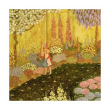 Girl in the Garden Giclee Print by  Ditz