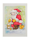 Father Christmas with Animals Giclee Print by Diane Matthes