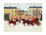 A Carriage Escorted by Police Giclee Print by Vincent Haddelsey