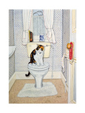Cat on the Loo, 1991 Giclee Print by  Ditz